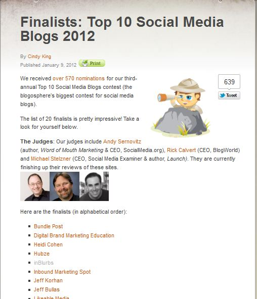 inblurbs nominated for top blog