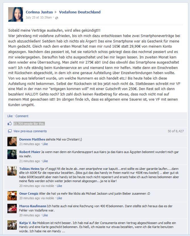 Shitstorm über Vodafone, Shitstorm verhindern, Social Media marketing, auf facebook eine marke bekannt machen