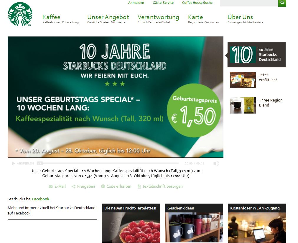 Starbucks Marketing, Starbucks mobile app, content marketing agentur,corporate blog erstellen